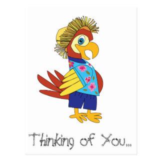 Pensamento de você cartão do papagaio da ilha cartão postal