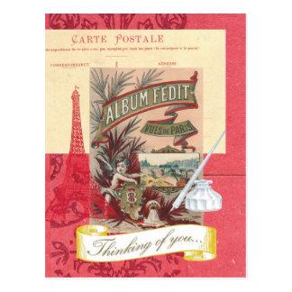 Pensamento de você cartão parisiense da colagem cartão postal
