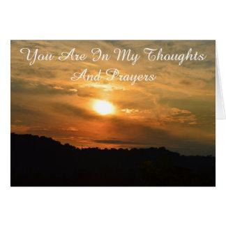 Pensamento de você cartão religioso do por do sol