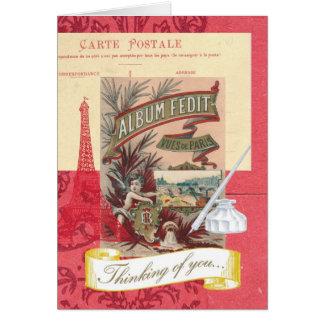 Pensamento de você colagem parisiense cartão comemorativo
