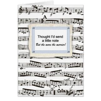 Pensamento de você & emissão de uma nota musical o cartão
