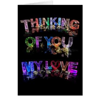 Pensamento de você meu amor cartão comemorativo