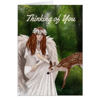 Pensamento moderno de você cartão com anjo