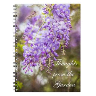 Pensamentos do caderno das glicínias do jardim
