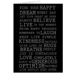 Pensamentos positivos cartão comemorativo