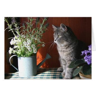 """""""Pensando de você"""", cartão do gato de gato malhado"""