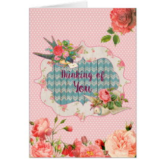 Pensando de você, tema do Victorian, cartão vazio