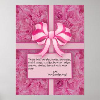 Pense a mensagem inspirada cor-de-rosa com rosas pôster