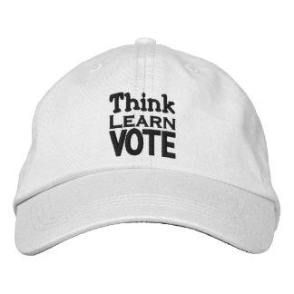 Pense, aprenda, vote boné bordado