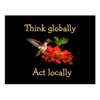Pense global o cartão do colibri do ato localmente