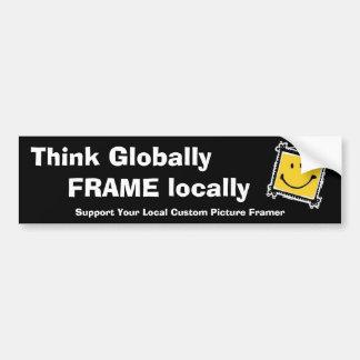 Pense global, quadro localmente adesivo para carro