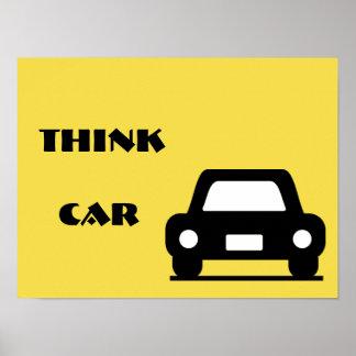 Pense o poster A3 Funky do carro