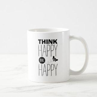 Pense que feliz seja design   inspirado feliz das caneca de café