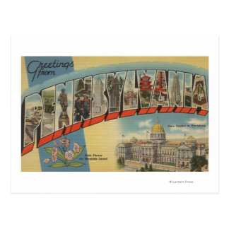 Pensilvânia (capital de estado/flor) 2 cartão postal