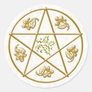 Pentacle do ouro, azevinho & carvalho - etiqueta