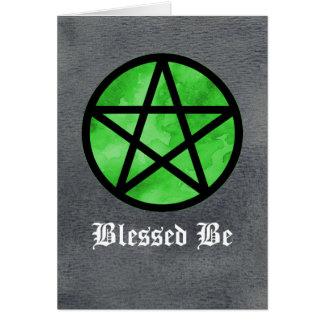 Pentacle verde no cartão preto da aguarela