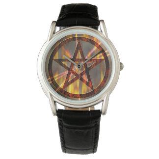 Pentagram ardente relógio