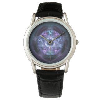 Pentagram azul do fogo da feitiçaria relógio