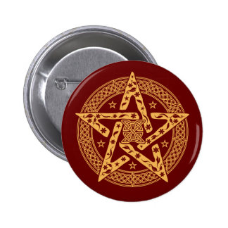 Pentagram celta do nó de Wiccan com teste padrão Bóton Redondo 5.08cm