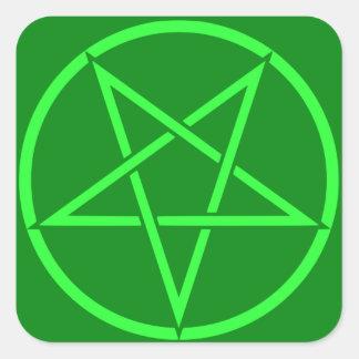 Pentagram de néon do Pentacle do verde do estilo Adesivo Quadrado