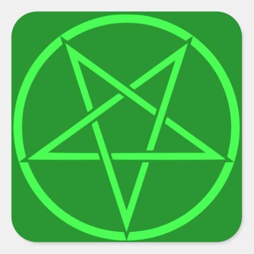 Pentagram de néon do Pentacle do verde do estilo Adesivos Quadrados