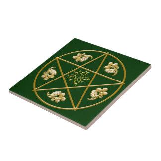 Pentagram do ouro, com carvalho & azevinho -