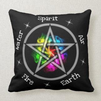 Pentagram elementar pagão de Wiccan Almofada