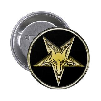Pentagram invertido com cabeça dourada da cabra boton
