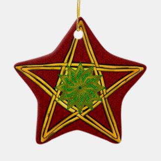 Pentagram - ornamento do ouro, o vermelho & o