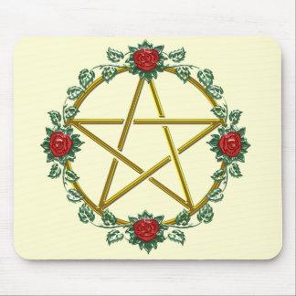 Pentagram pagão cor-de-rosa Mousepad do Pentacle