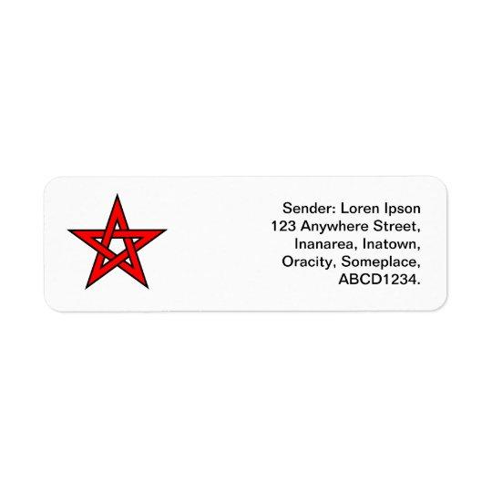 Pentagram - vermelho etiqueta endereço de retorno