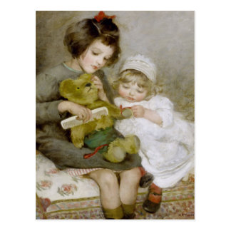Penteando o cartão da pintura do vintage do