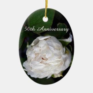 Peônia branca - 50th aniversário ornamento de cerâmica oval