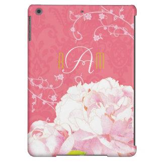 Peônia, caixa Monogrammed do ar do iPad do damasco Capa Para iPad Air