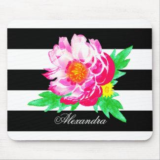 Peônia cor-de-rosa do monograma Mousepad