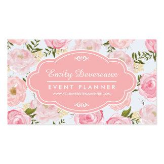 Peônia cor-de-rosa floral dos rosas do vintage cartão de visita
