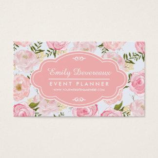 Peônia cor-de-rosa floral dos rosas do vintage cartão de visitas