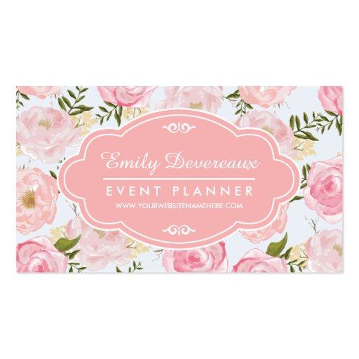Peônia cor-de-rosa floral dos rosas do vintage fem cartao de visita