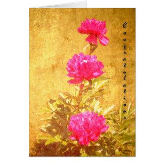 Peônia das felicitações cartão comemorativo