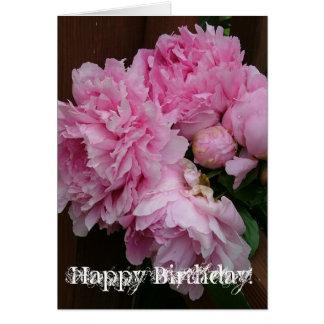 Peônia do feliz aniversario cartão comemorativo