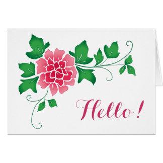 Peônia olá! cartão comemorativo