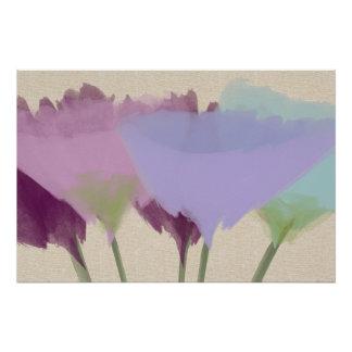Peônias abstratas da aguarela no poster da arte pôster