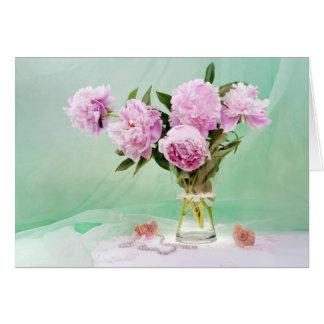 Peônias cor-de-rosa cartão de nota
