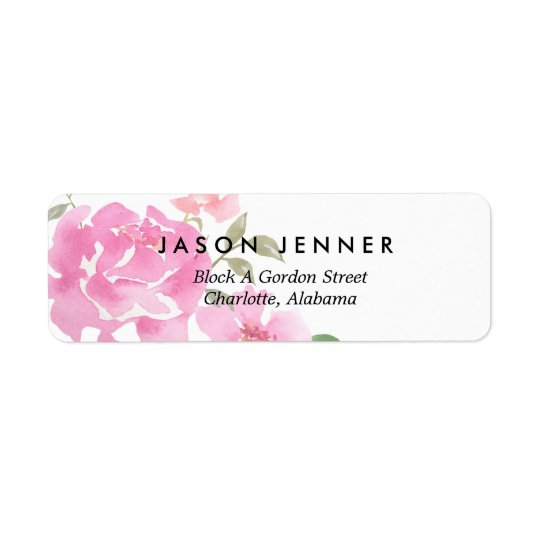 Peônias cor-de-rosa florais da aguarela que etiqueta endereço de retorno