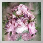 Peônias cor-de-rosa no vaso da peônia - poster/imp