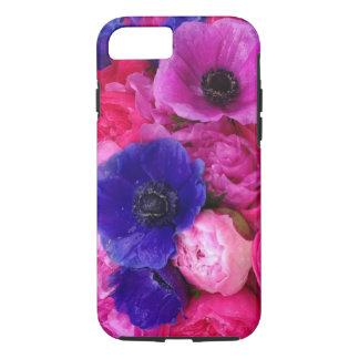 Peônias cor-de-rosa & roxas & capa de telefone