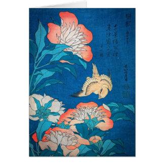 Peônias e arte japonesa amarela por Hokusai Cartão Comemorativo