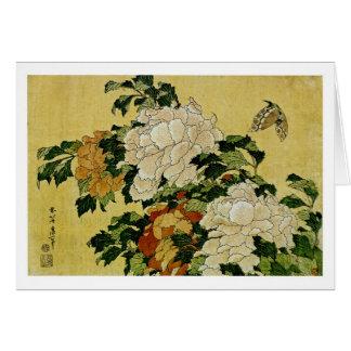 Peônias e borboleta cartão comemorativo