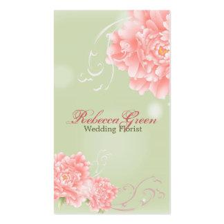 peônias elegantes modernas do rosa do vintage flor cartão de visita