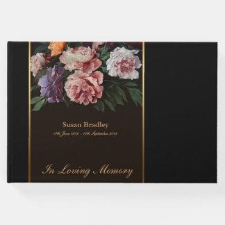 Peônias que pintam o livro de hóspedes fúnebre